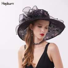 Hepburn brand prom High grade Flower Elegant Large sun visor hats Organza summer beach hat for women