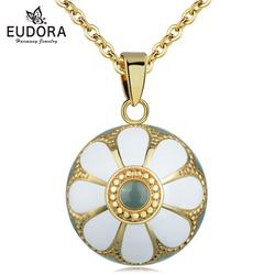 Eudora New Original Enamel Craft Holy Flower Bell Ball Pendant Harmony Bola Ball Necklace Angel Caller Mexican Bola Ball Jewelry