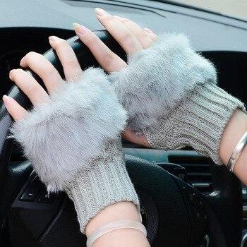 2019 أزياء الشتاء النساء قفازات أفخم فو الفراء الحياكة الصوف الدفء قصيرة القفاز أصابع سيدة فتاة إصبع قفاز IE998 1