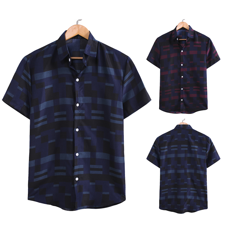 Shirt Men Fashion Men's Shirts Breathable Stripe Summer Short Sleeve Loose Buttons Casual Male Shirt Blouse Top New 2020 Men Shi