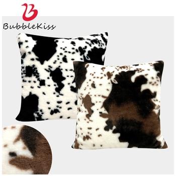 Bubble Kiss 2020 Plush Cow Pattern Cushion Cover Black White Pillow Case Hot Sale Soft Home Party Decoration Cushion Pillow Case