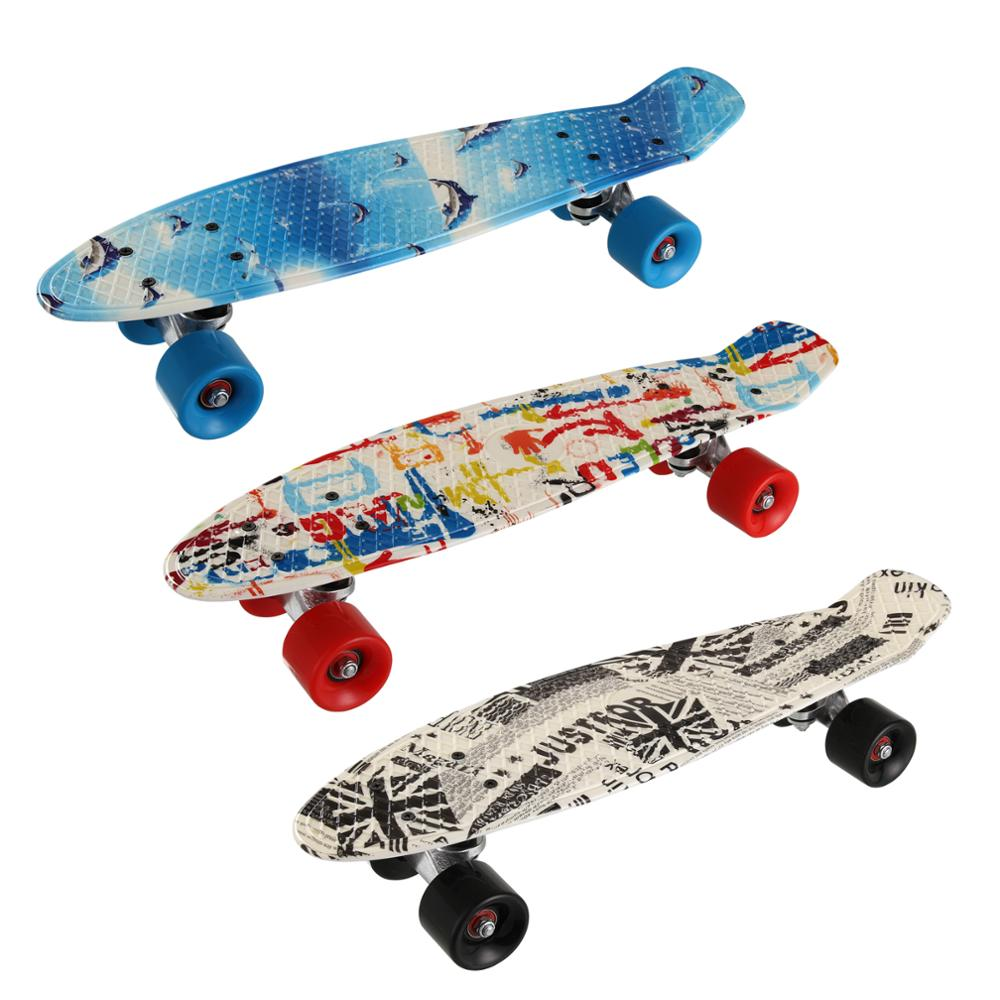 22inch Skate Board Flashing Light Mini Cruiser Skateboard Plastic Longboard Banana Fishboard Street Outdoor Sports For Girl Boy