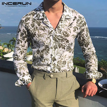 2019 Fashion Flower Print Casual Shirt Men Turn-down Collar Camisa Long Sleeve Streetwear Hawaiian Brand Men Shirt INCERUN S-5XL stylish shirt collar slimming flower print long sleeve polyester shirt for men