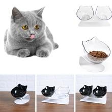 Нескользящие миски для кошек Mascotas двойные миски с поднятым подставкой миски для корма и воды для кошек кормушки для собак товары для домашних животных кошек миска 4