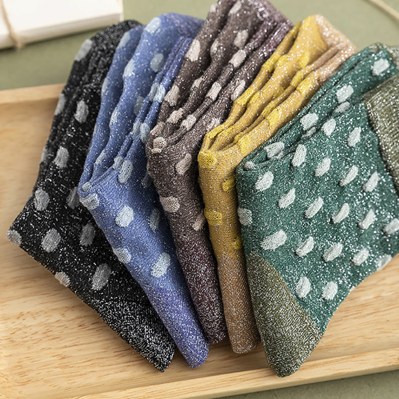 Women's Shiny Dot Print Socks Fashion Female Glitter Harajuku Vintage Streetwear Cotton Socks Girl Beautiful Silver Wire Socks
