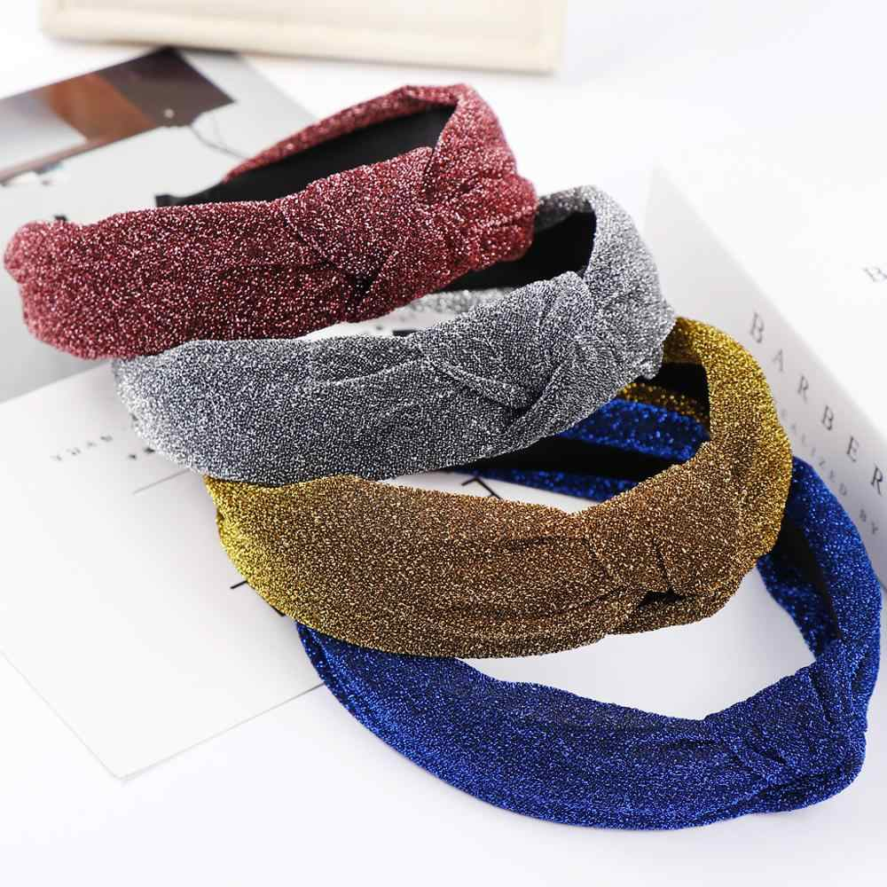 Bright Silk  Bow Knot Women Headband Fashion Solid color Head Hoop Sweet Girls Hair Headbands Casual Female Hair Accessories