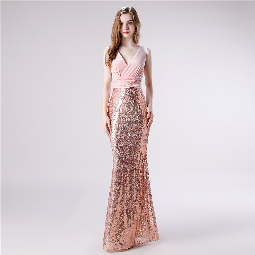 Light Pink   Evening     Dresses   Sequins V Neck Mermaid Prom   Dresses   Zipper Floor Length Custom Made vestidos de fiesta de noche 2019