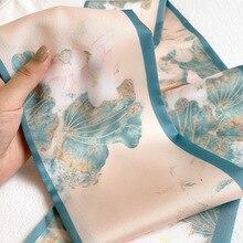 2020 Новый шелковый шарф женщин чистый цветочный шеи длинные тонкие шарфы офис Леди Шаль бандана мусульманский хиджаб платье мешок шарфы 150*15см