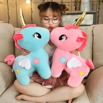 цена на Soft Unicorn Plush Toy Baby Kids Appease Sleeping Pillow Doll Animal Stuffed Plush Toy Birthday Gifts for Girls Children