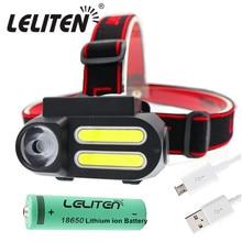 Mini lampe frontale Portable XPE + 2 x COB LED étanche, lampe de travail, batterie 18650 pour léclairage nocturne, lampe de poche