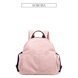 Image 5 - New Fashion Diaper Bag for Mother Pink Large Capacity Solid Baby Bag Backpack with 2 Straps Stylish Maternity Nappy Changing Bag
