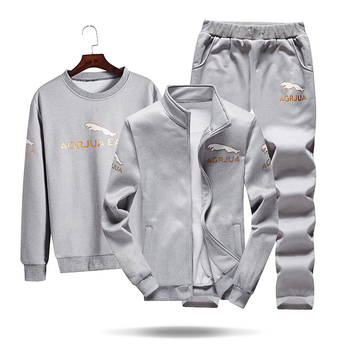 Tracksuits Men Polyester Sweatshirt Sporting Fleece Gyms Autumn Jacket + Pants+sweatershirt Casual Men's Suit Sportswear Fitness 2