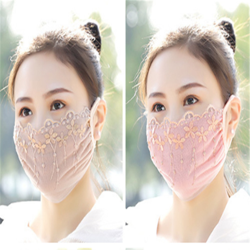 Autumn Spring Breathable Mouth Mask Women Girl Lace Cotton Mask Bacteria Anti-pollution Mask Cycling Windproof Anti-Dust