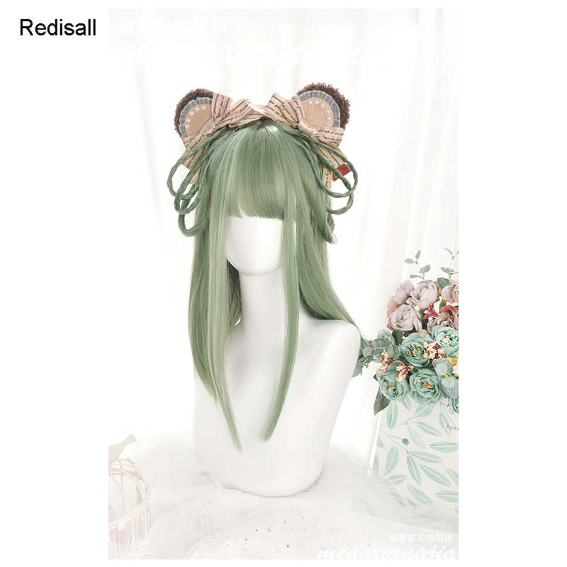 Aguacate verde Harajuku Lolita peluca dulce mezcla verde gris largo recto pelo sintético flecos Bangs adultos niñas