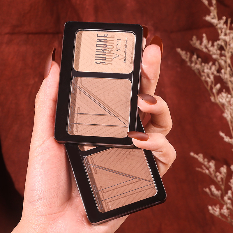 Three Dimensional Two-color Contour Powder V-Shaped Face Matte Smooth Waterproof Long Lasting Pigment Silky Touch Natural Makeup