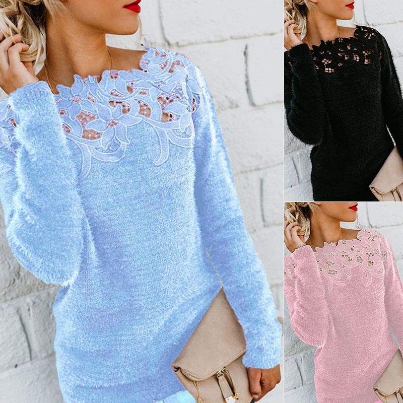 Hot Sale Women Slim Sweater Fashion Lace Neck Tops Long Sleeve Pullover Plus Size O Neck Knitwear Top Lace Floral Collar Winter