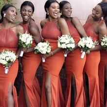 Dress-Gown Trumpet-Dress Satin Bridesmaid Sleeveless Stretch Spaghetti