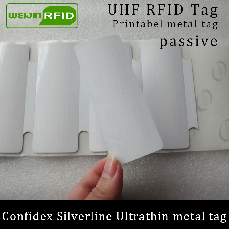 UHF RFID Anti-metal Tag Confidex Silverline 915mhz 868mhz Impinj Monza4QT EPCC1G2 6C Small Printable PET Passive RFID PET Label