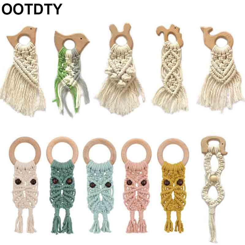 Kids Baby Teether Crochet Wood Ring Rattle Wooden DIY Crafts Newborn Organic Macrame Boho Teether Gel Sensory Toy Natural Cotton