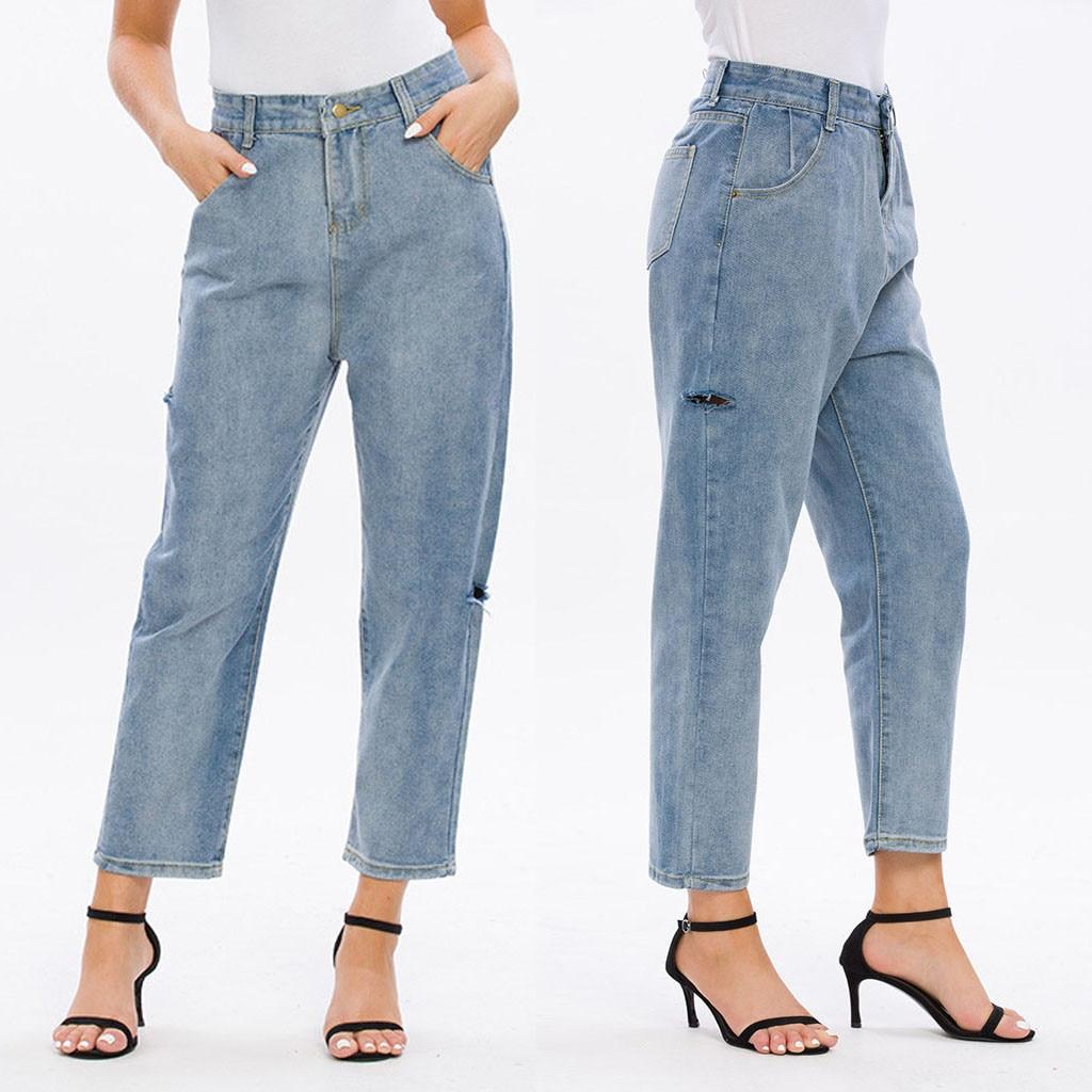 Fashion Women jeans High Waist Button Pocket Hole Trousers Boyfriend jeans for women Casual Denim Wide Leg Pants Jeans Mujer S10
