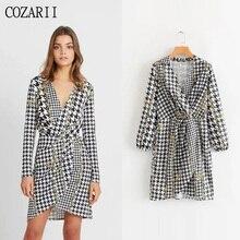COZARII 2019 summer dress women vestidos casual style print V-Neck mini de fiesta party tops plus size