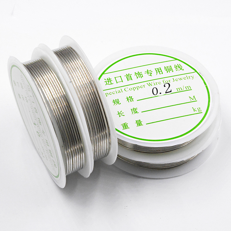 1 Roll 30-2M Silver Color Copper Wire 0.2/0.25/0.3/0.4/0.5/0.6/0.8/1.0mm DIY For Jewelry Making Bracelet&Necklace Drop Earrings