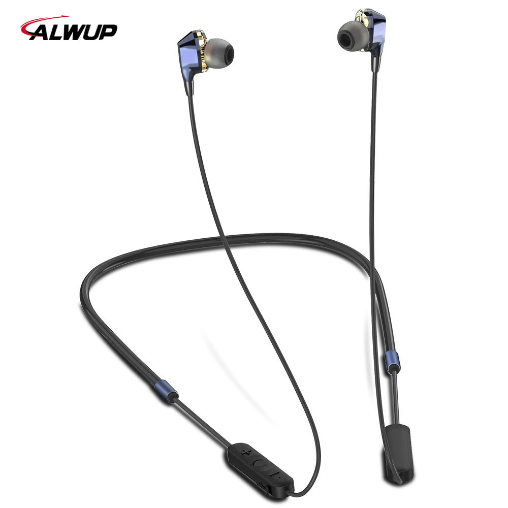 Newest ALWUP G02 Bluetooth Earphone Wireless Headphones Dual Drivers Stereo Magnetic Neckband Sport Earphone For Phone With Mic