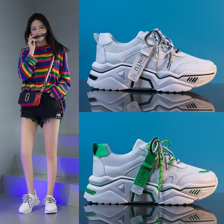 Shoes Female High-Heeled-Shoes Loafers Women Thick-Soled White Increased Hip-Hop Leisure