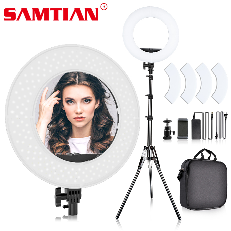 "SAMTIAN ring licht foto Studio beleuchtung 14 ""384 PCS LED ring lampe Dimmbar Mit telefon clip stativ für YouTube make up ringlight-in Fotolampen aus Verbraucherelektronik bei  Gruppe 1"