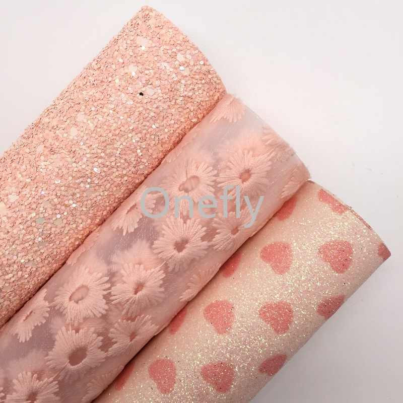 Onefly 21X29CM PINK Chunky Glitter Leather, Hearts Printed Glitter Fabric Sheets For Bow DIY  handbags shoes  AQ074