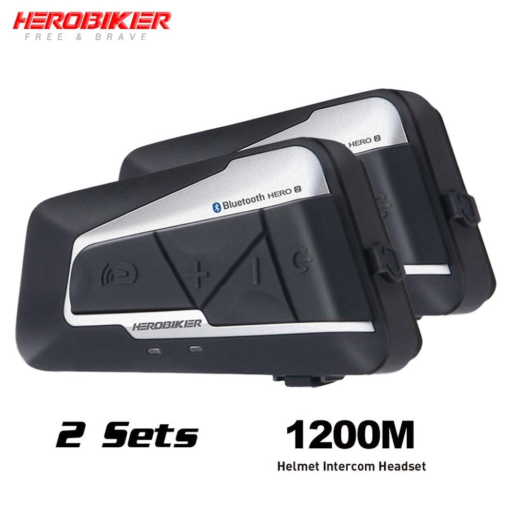 HEROBIKER Motorcycle Helmet Intercom Waterproof Wireless Bluetooth Intercom Motorcycle Headset Interphone For 2 Rides 1200M 2set