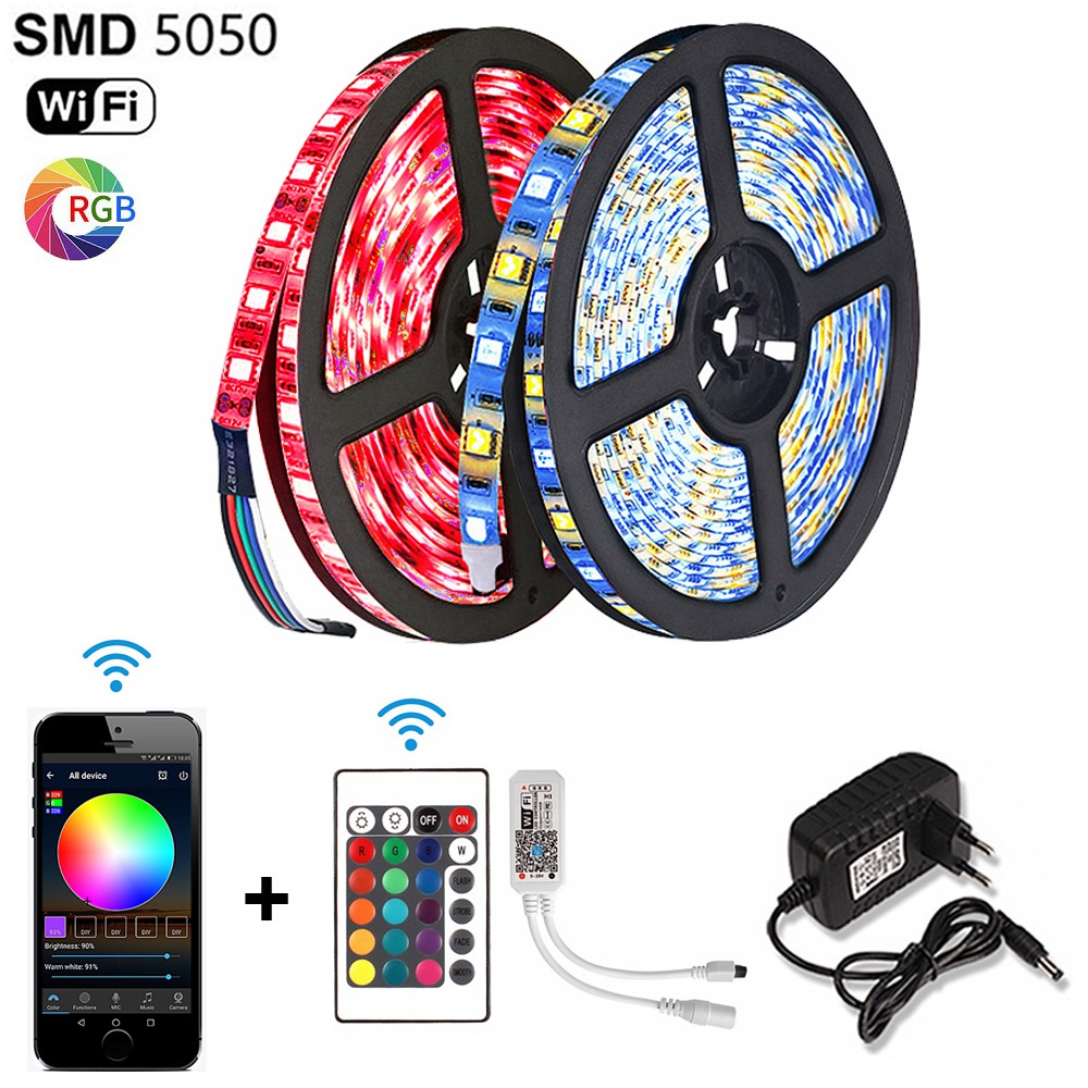RGBW RGBWW RGB Led Strip WiFi 5050 5M Diode Tape DC 12V Waterproof Fita Tira Ribbon LED Light +24 Keys Remote Controller Adapter
