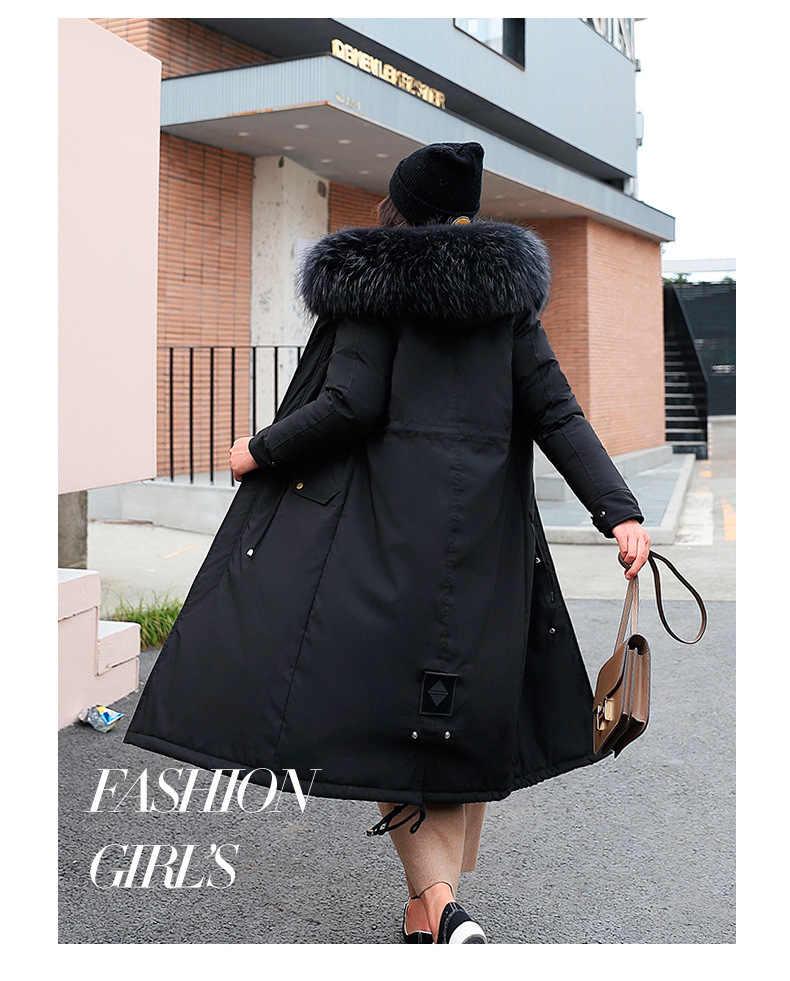 Chất Lượng Cao Cổ Áo Khoác Mùa Đông Nữ Parkas Mujer 2019 Dài Dày Ấm Plus Nhung Phối Áo Nữ Áo Khoác Cổ Lông Khoác Ngoài