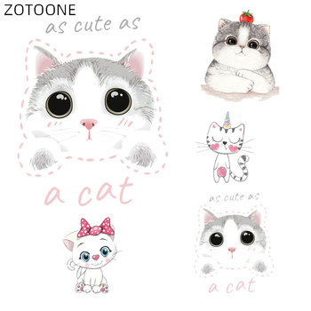 ZOTOONE Cute White Cat Patches Iron on Stickers for Clothing Heat Transfers DIY Cartoon Animal Patch for Kids Vinyl Appliques D image