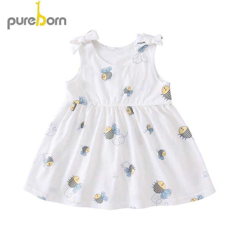 Pureborn Toddler Baby Girl Dress Cartoon Cotton Baby Girl Dress Clothing Sleeveless Swing Bowknot Princess Costume Summer Outfit