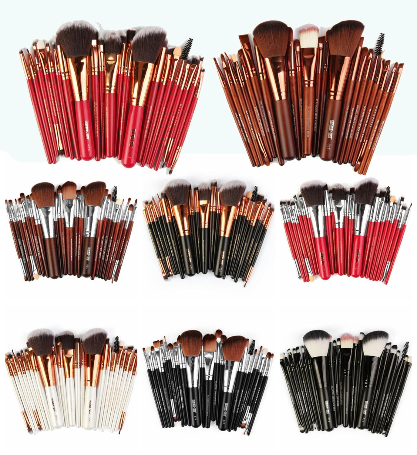 MAANGE 22pcs Professional Makeup Brushes Kit Wooden Handle Beauty Cosmetic Tools pinceaux maquillage