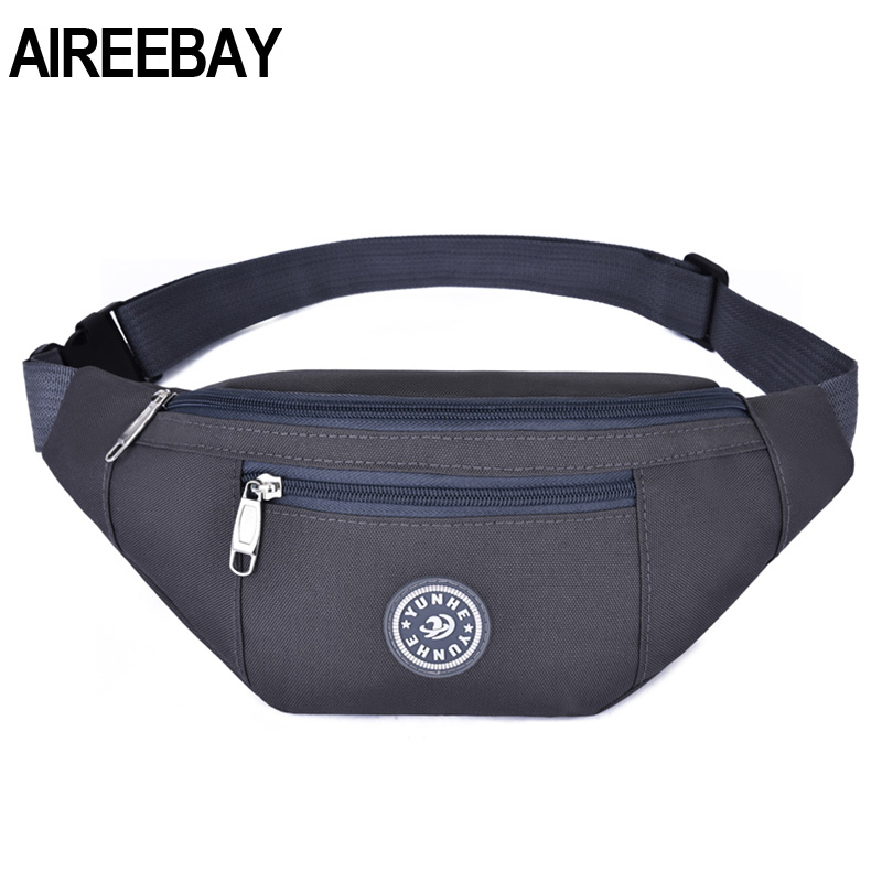 AIREEBAY Travel Bum Bag Men Waist Money Belt Bag For Women Casual Fanny Pack Pouch Large Capacity 3-Pocket Girls Waist Packs