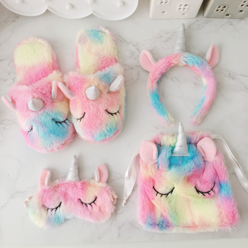 2020 Unicorn Baby Girls Slippers Set Plush Cute Cotton Adult Slippers Autumn Winter Home Non-slip Warm Shoes Eye Mask Headband