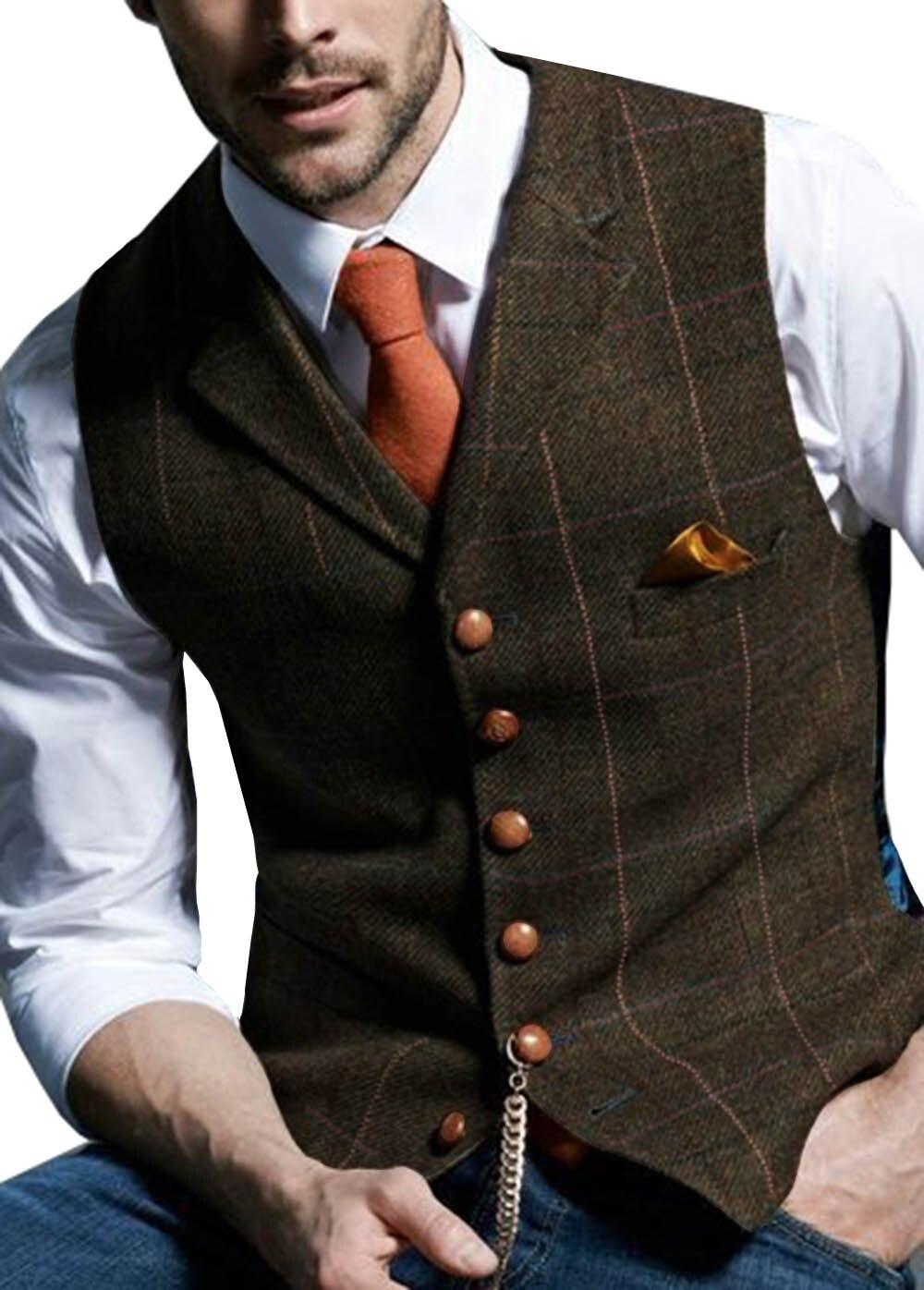 Mens-Suit-Vest-Notched-Plaid-Wool-Herringbone-Tweed-Waistcoat-Casual-Formal-Business-Groomman-For-Wedding-Green (4)