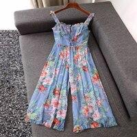 Fashion Designer Women Floral Print Ruffles Jumpsuits Summer Women Loose Backless Silk Wide Leg Pants