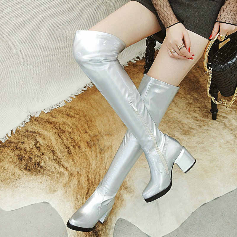 Сапоги из лакированной кожи; цвет красный, золотой, серебряный, черный; женские зимние сапоги до колена; женские модные высокие сапоги на толстом каблуке с круглым носком; 2020