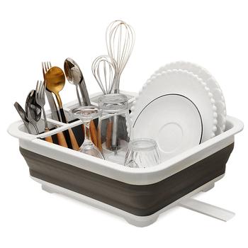 Składana suszarka do naczyń kuchenny uchwyt do przechowywania suszarka do naczyń przenośna półka do naczyń domowych tanie i dobre opinie CN (pochodzenie) Dish plate chopsticks spoon plastic dish rack drainer