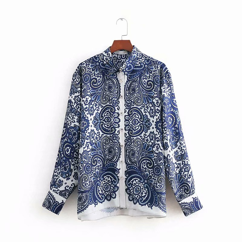 New Women Fashion Blue And White Porcelain Print Blouse Shirts Women Casual Chemise Blusas Long Sleeve Femininas Tops LS3164