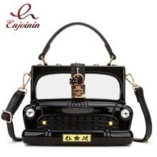 패션 블랙 자동차 모양의 아크릴 상자 모양의 여성 핸드백 숄더 가방 지갑 크로스 바디 가방 여성 파티 클러치 백 디자이너 가방