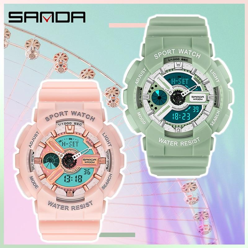 SANDA filles montres mode Bracelet horloge antichoc compte à rebours femmes montre de luxe lumineux 4 réveils montre-Bracelet