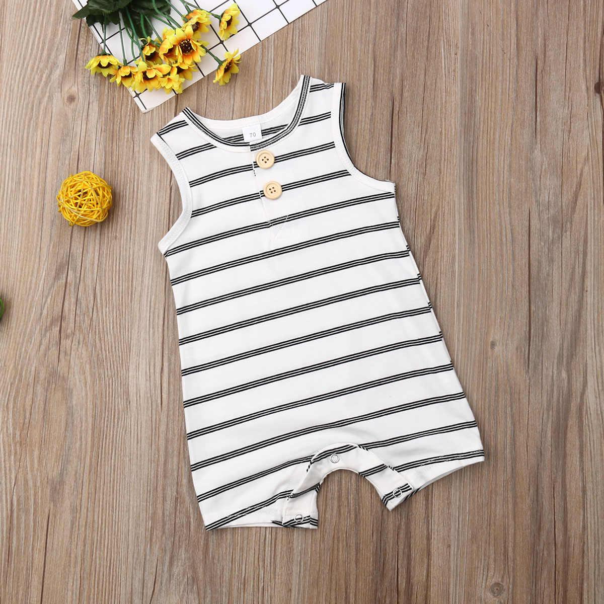 Ropa de verano de bebé 0-24 bebé recién nacido chico chica a rayas mameluco ropa a rayas sin mangas traje de verano mono 0-24m