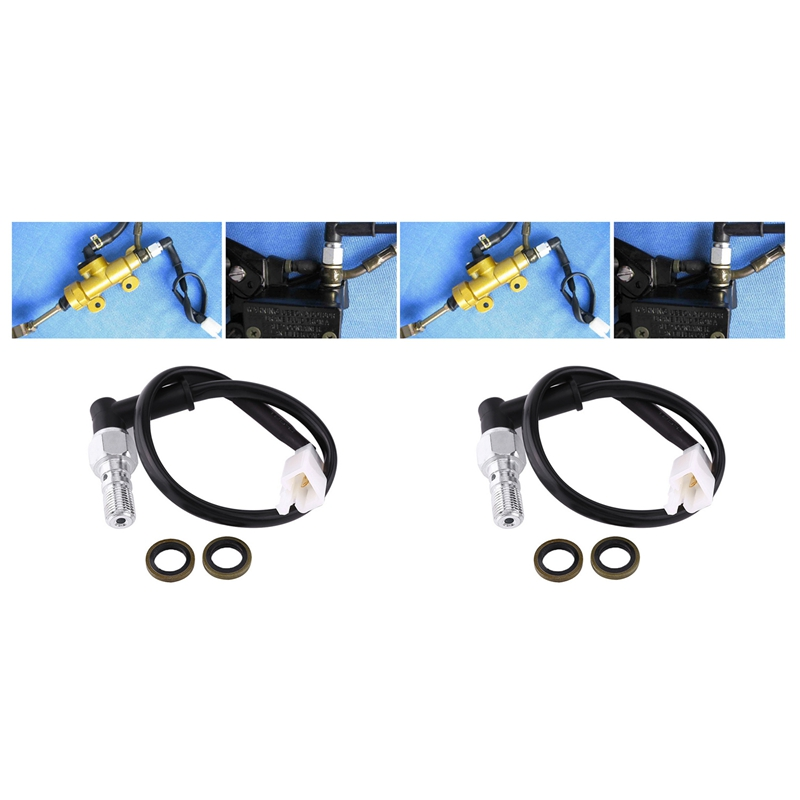 2Pc Universal Motorcycle Hydraulic Brake Pressure Rear Light Switch Hollow Bolt Accessories M10 1mm & 1.25mm|Brake Lines| |  - title=