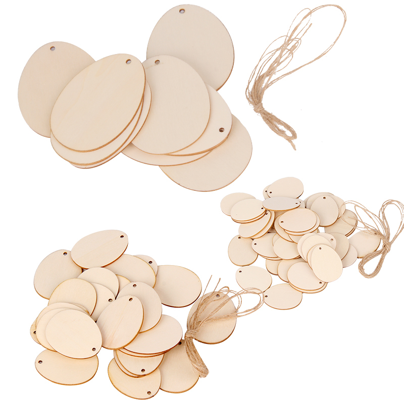 25/50Pcs Happy Easter Party Wooden Egg Craft Laser Cut Wooden Chips Wood Egg Hanging Pendant Kids Easter Party Decoration
