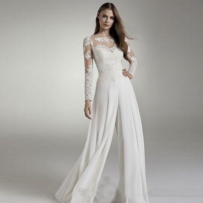 2020 Designer Cheap Lace Wedding Jumpsuits Long Sleeves Jewel Sheer Neck Hollow Back Applique Chiffon Bridal Suits Wedding Recep