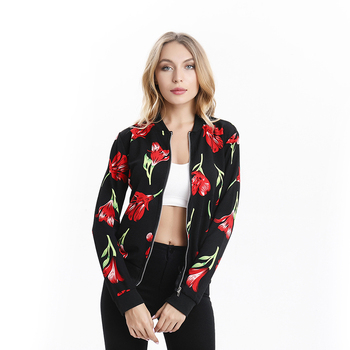 Retro Ladies Zipper Up Thin Coats Fashion Ladies Floral Print Short Jackets Casual Basic Female Outerwears New Women Slim Tops